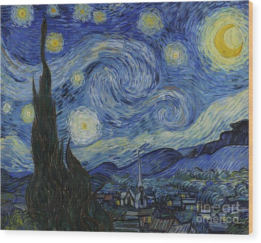 The Starry Night Wood Print