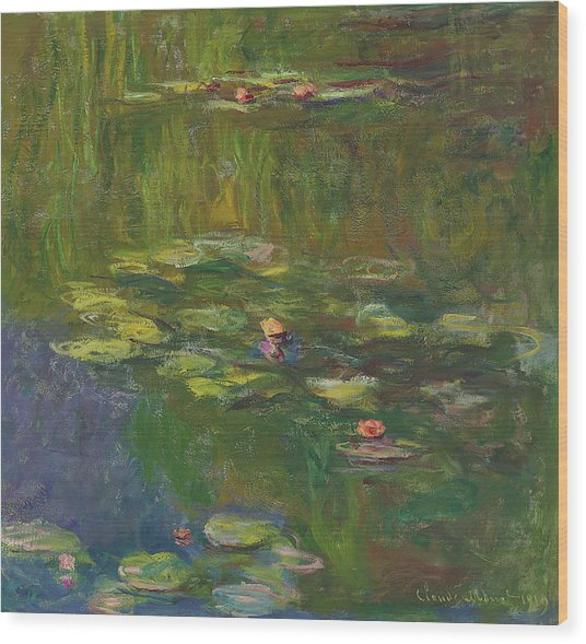 The Water Lily Pond Wood Print