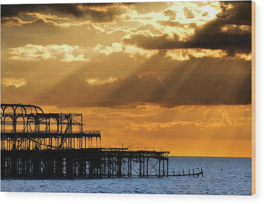 The West Pier In Brighton At Sunset Wood Print