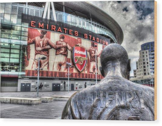 Thierry Henry Statue Emirates Stadium Wood Print