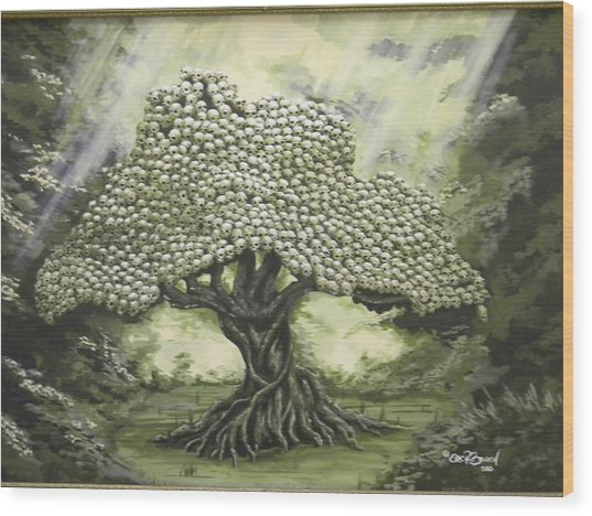 Tree Of Skulls Wood Print by Eric Barich