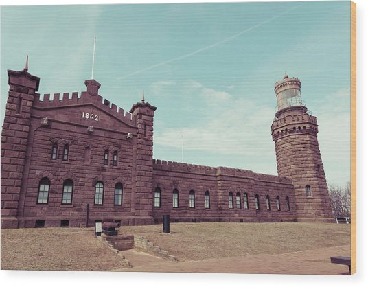 Twin Lights Lighthouse Atlantic Highlands New Jersey Wood Print by Erin Cadigan