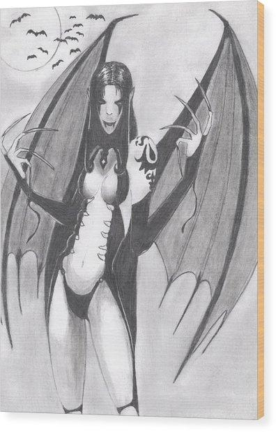 Vampire Wood Print by Josh Bennett