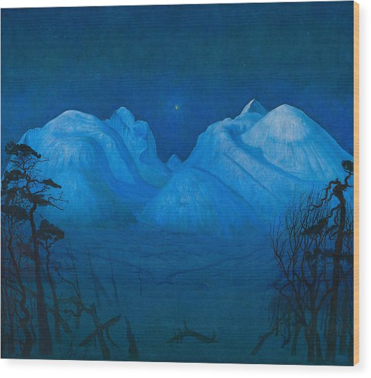 Winter Night In The Mountains Wood Print
