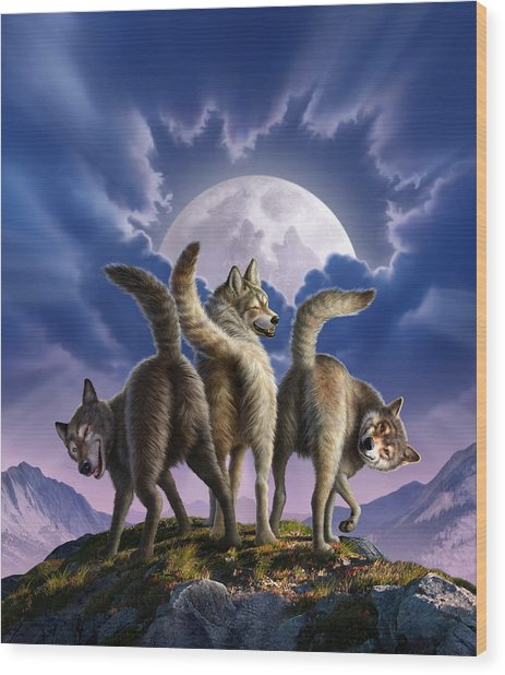3 Wolves Mooning Wood Print