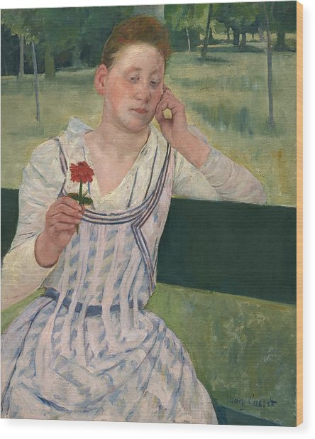 Woman With A Red Zinnia Wood Print