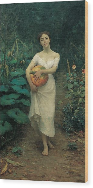 Young Girl Carrying A Pumpkin Wood Print