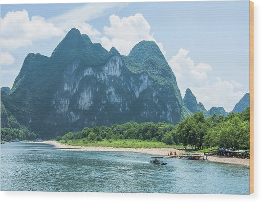 Lijiang River And Karst Mountains Scenery Wood Print