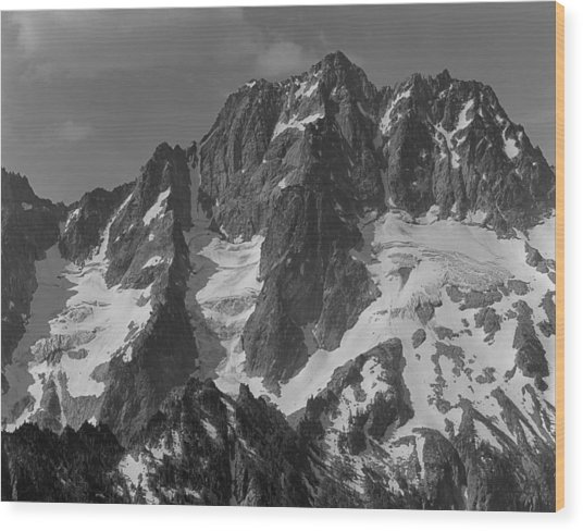 304630 Bw North Face Mt. Stuart Wood Print