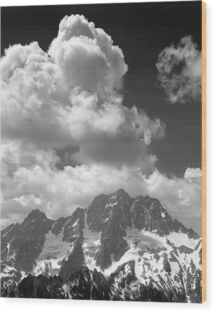 304638 Clouds Over Mt. Stuart Bw Wood Print