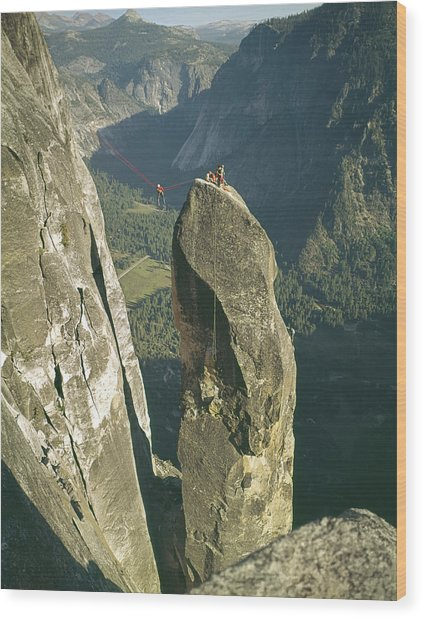 306540 Climbers On Lost Arrow 1967 Wood Print