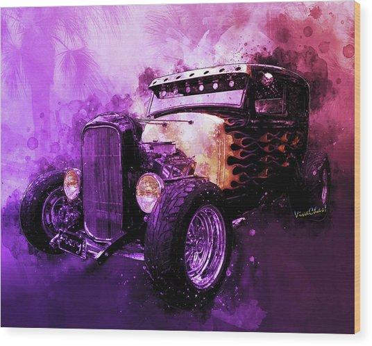 31 Ford Model A Fiery Hot Rod Classic Wood Print