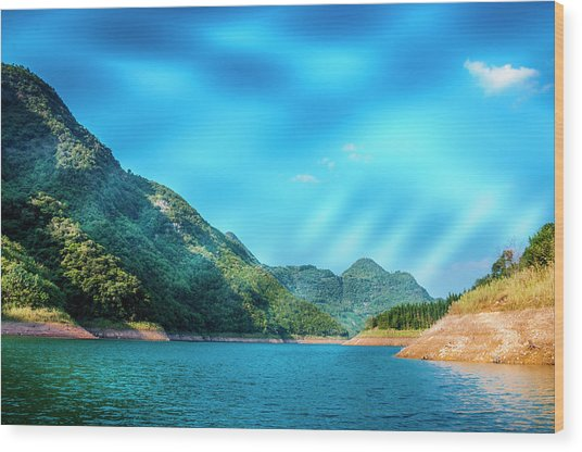 The Mountains And Reservoir Scenery With Blue Sky Wood Print
