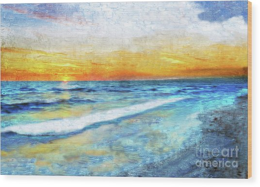 Seascape Sunrise Impressionist Digital Painting 31a Wood Print
