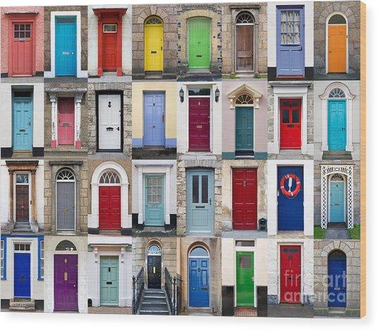 32 Front Doors Horizontal Collage  Wood Print by Richard Thomas