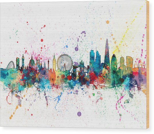 London England Skyline Wood Print