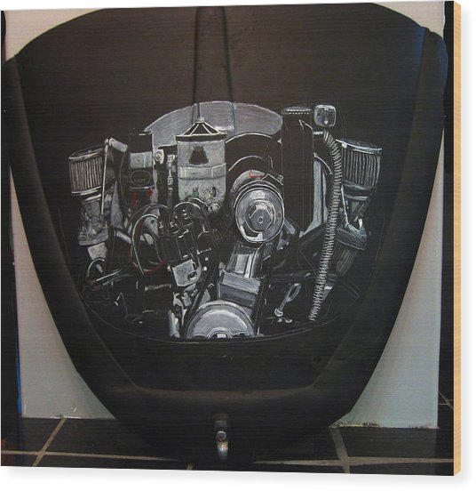 356 Porsche Engine On A Vw Cover Wood Print
