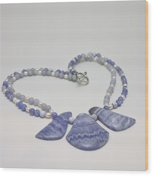 3588 Blue Banded Agate Necklace Wood Print