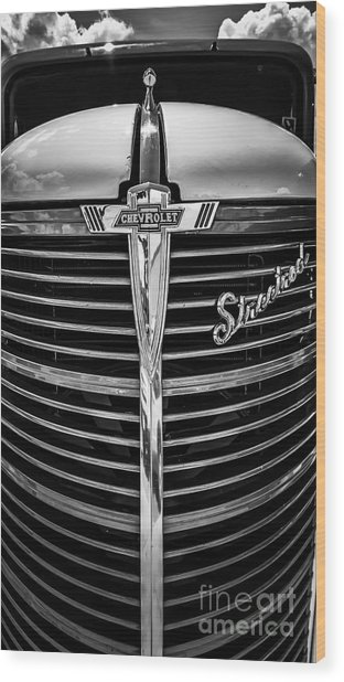38 Chevy Truck Grill Wood Print