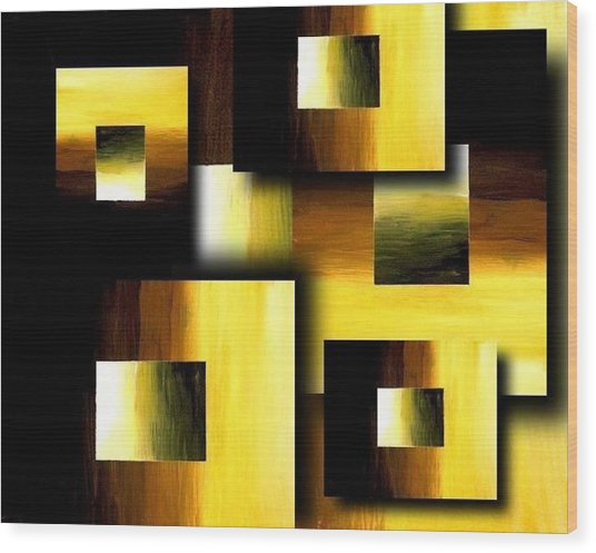 3d Golden Squares Wood Print by Teo Alfonso