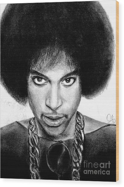 3rd Eye Girl - Prince Charcoal Portrait Drawing - Ai P Nilson Wood Print