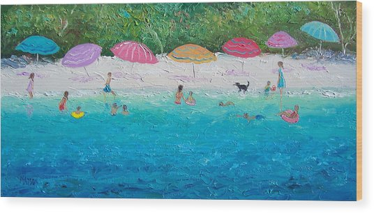 Beach Umbrellas Wood Print