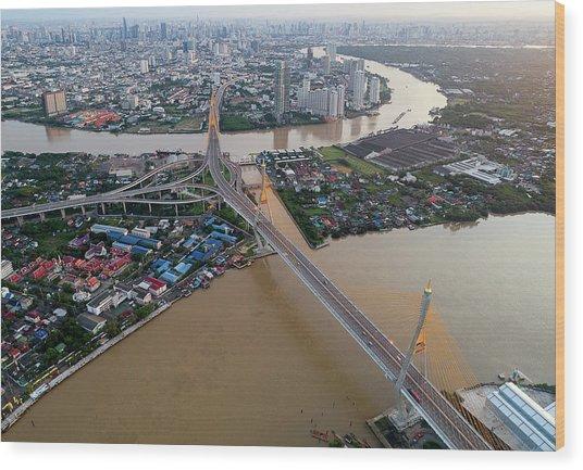 Wood Print featuring the photograph Bhumibol Bridge Aerial View At Sunrise by Pradeep Raja PRINTS