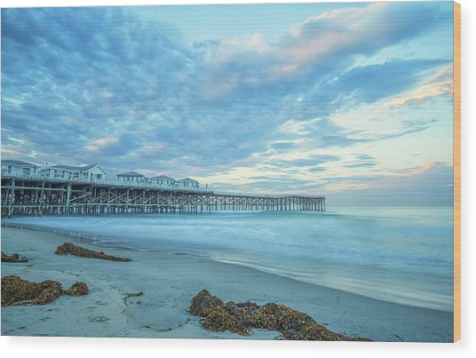 Cloud Cover Over Crystal Pier Wood Print