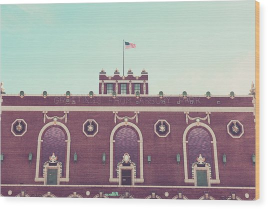 Convention Hall Wood Print by Erin Cadigan