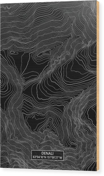 Denali Colored Contour Map Of Denali In Alaska Usa Wood Print