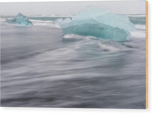 Wood Print featuring the photograph Diamonds Floating In Beaches, Iceland by Pradeep Raja PRINTS