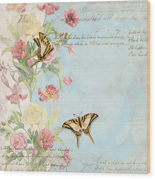 Fleurs De Pivoine - Watercolor W Butterflies In A French Vintage Wallpaper Style Wood Print