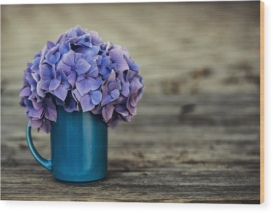 Hortensia Flowers Wood Print