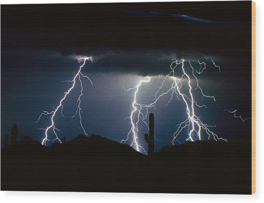 4 Lightning Bolts Fine Art Photography Print Wood Print