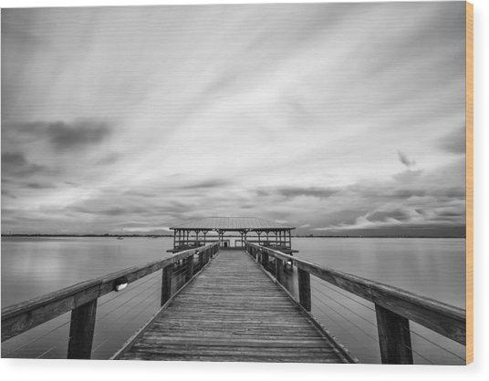 Melbourne Beach Pier Sunset Wood Print
