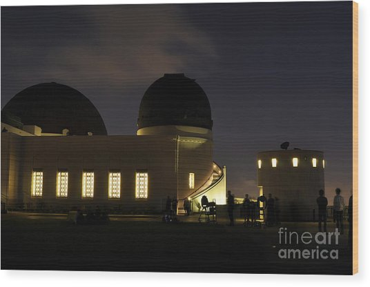 Night At Griffeth Observatory Wood Print