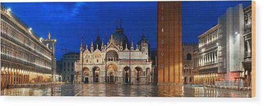 Wood Print featuring the photograph Piazza San Marco Night by Songquan Deng