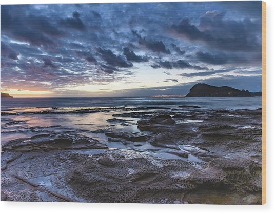 Seascape Cloudy Nightscape Wood Print