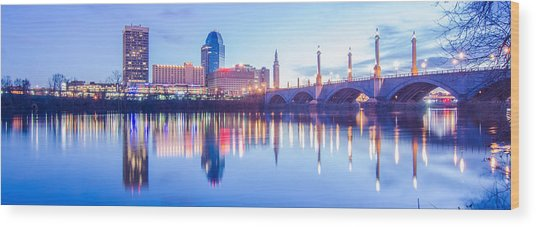 Springfield Massachusetts City Skyline Early Morning Wood Print