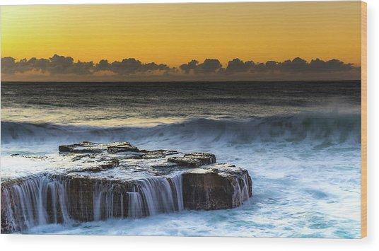 Sunrise Seascape With Cascades Over The Rock Ledge Wood Print