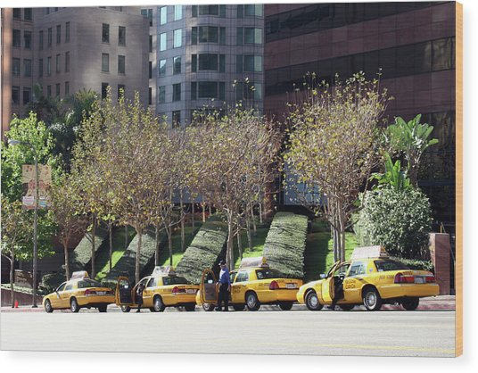 4 Taxis In The City Wood Print