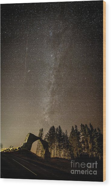 The Milky Way Over The Hafod Arch, Ceredigion Wales Uk Wood Print