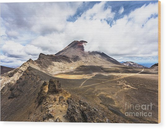 Tongariro Alpine Crossing In New Zealand Wood Print