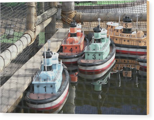 4 Toy Boats Wood Print