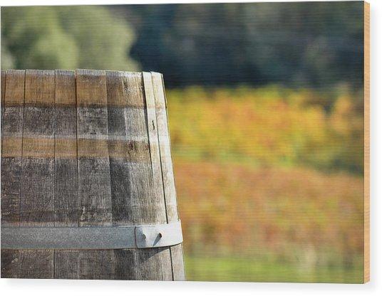 Wine Barrel In Autumn Wood Print