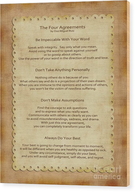 41- The Four Agreements Wood Print