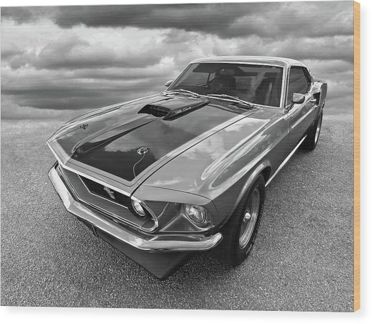 428 Cobra Jet Mach1 Ford Mustang 1969 In Black And White Wood Print