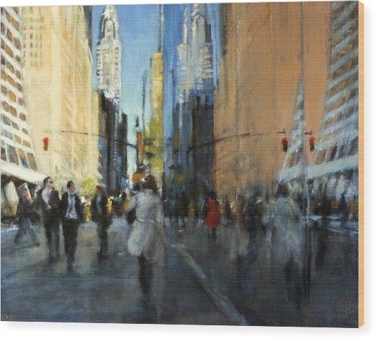 42nd Street Reflections Wood Print