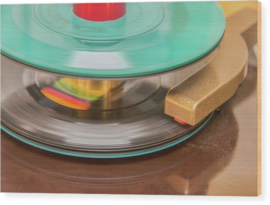 45 Rpm Record In Play Mode Wood Print