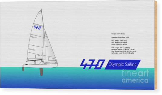 470 Olympic Sailing Wood Print